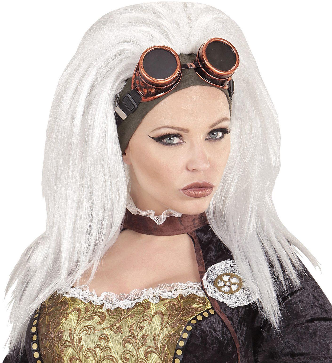 Witte steampunk pruik met stofbril