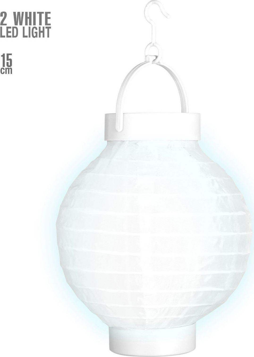 Witte stoffen lampion met 2 witte LED lichten