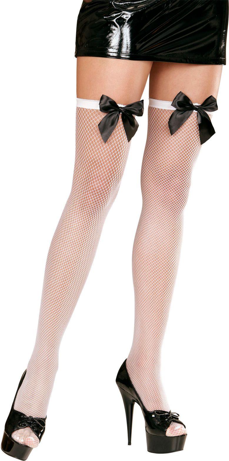 Witte visnet panty met zwart strikje