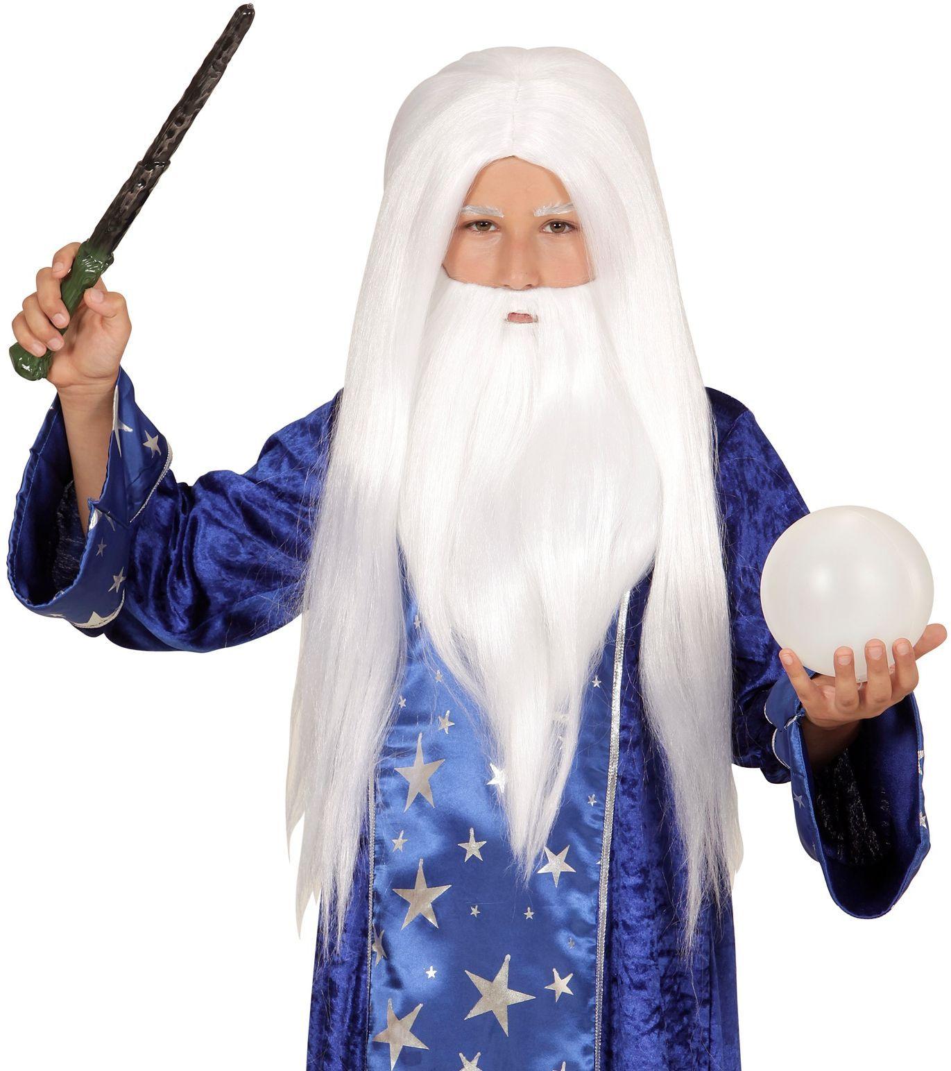 Witte wizard pruik
