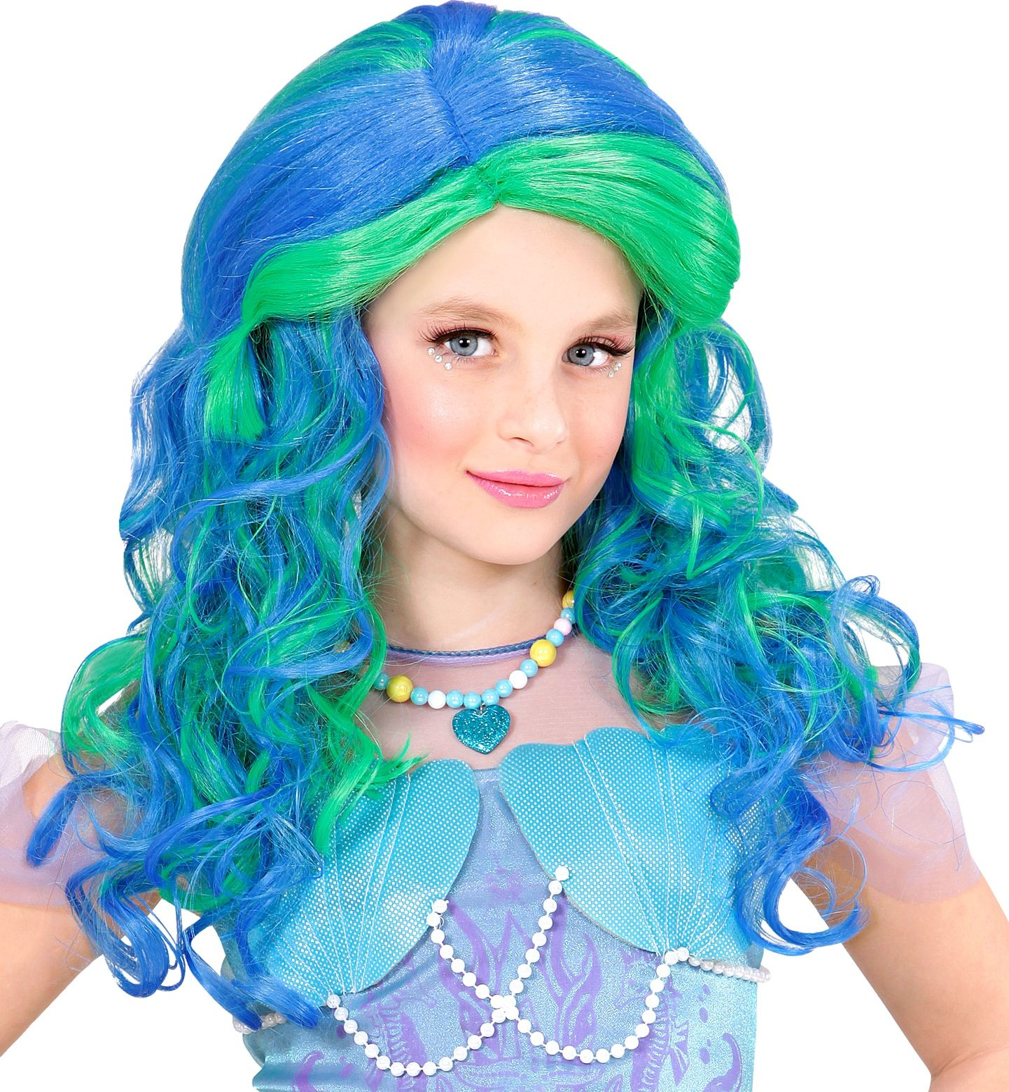 Zeemeermin pruik blauw kind