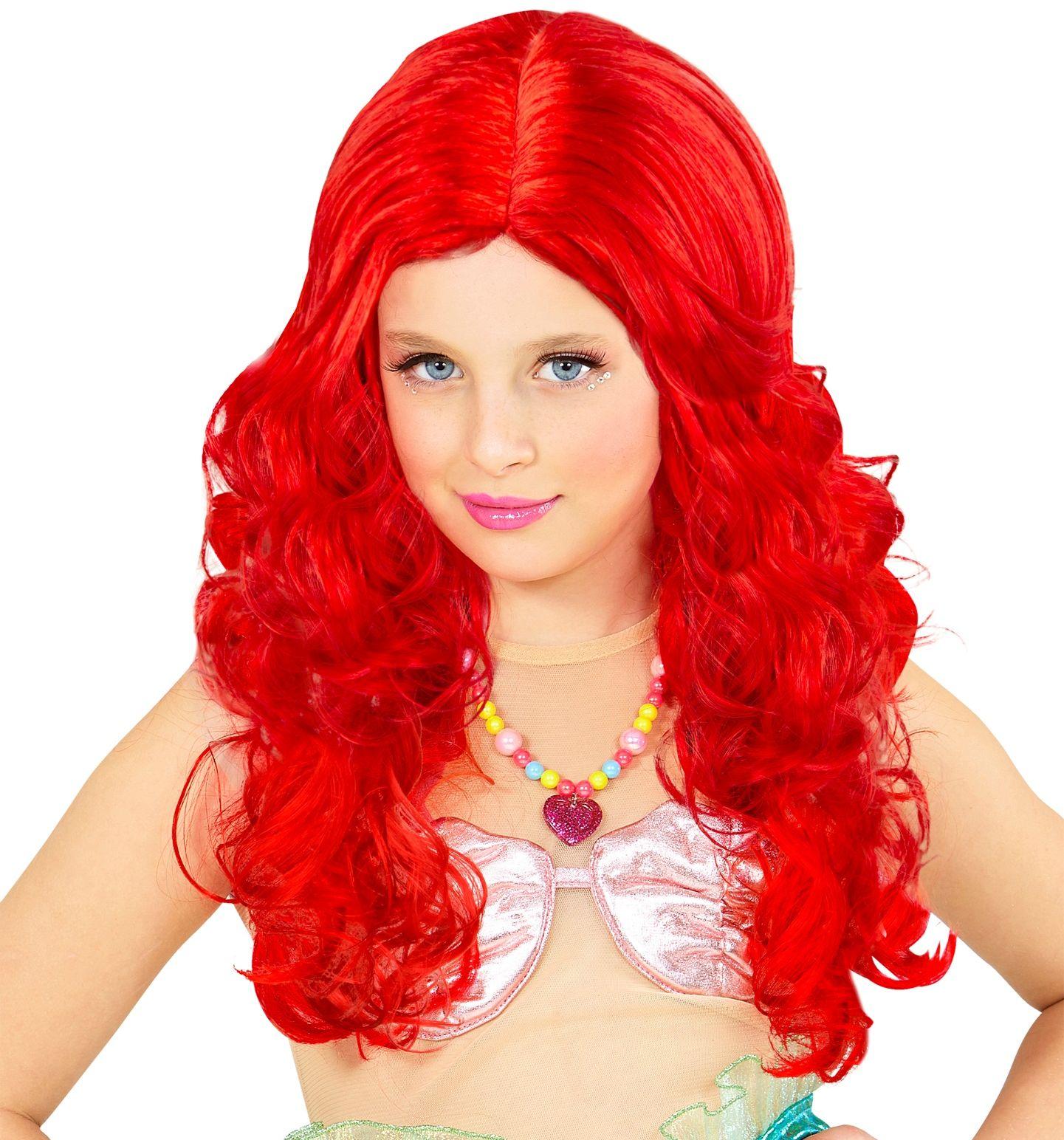 Zeemeermin pruik rood kind