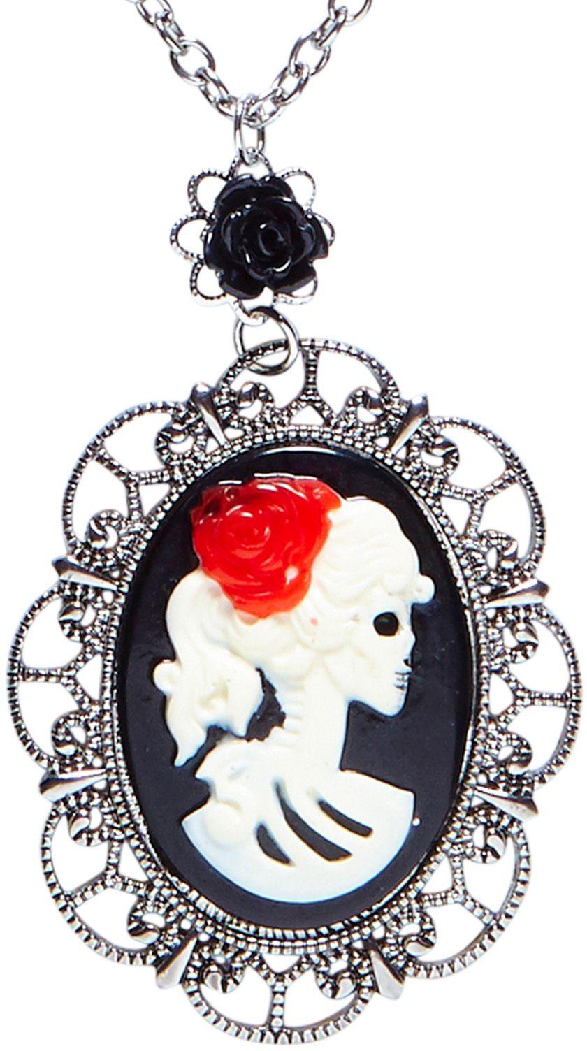 Zilveren day of the dead ketting met roos en schedel