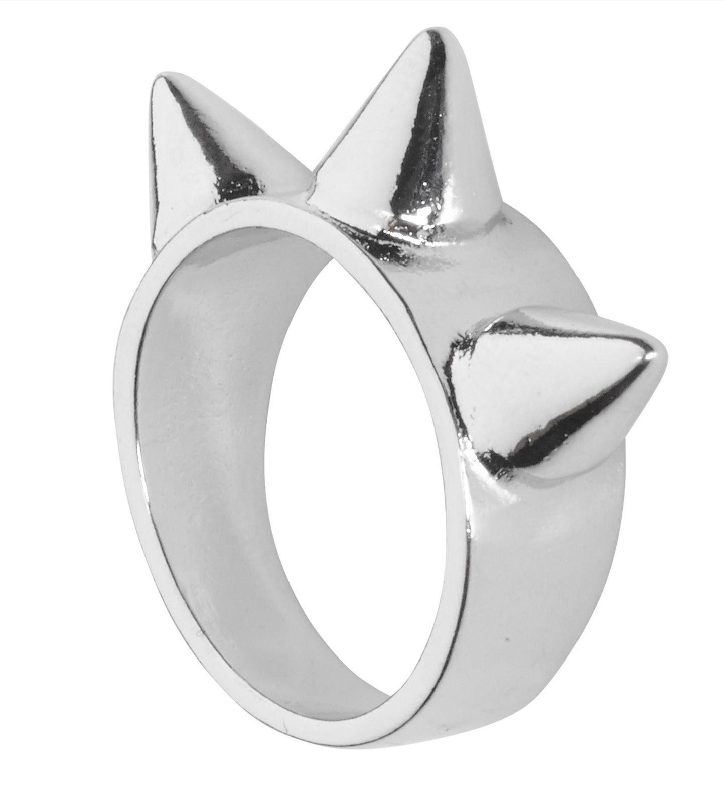 Zilveren gespijkerde ring