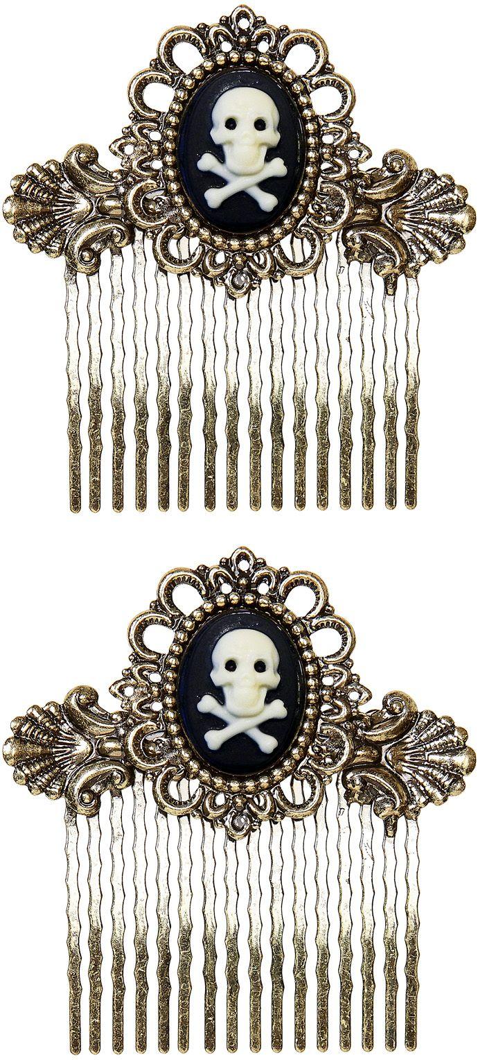 Zilveren haarklem met schedel