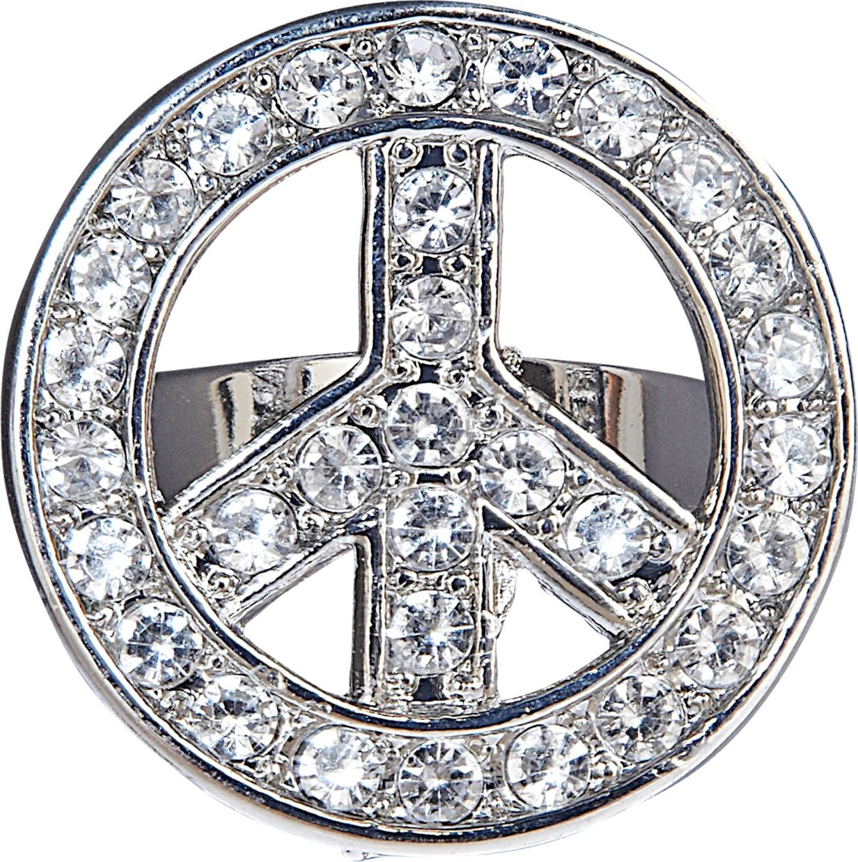 Zilveren hippie peace ring