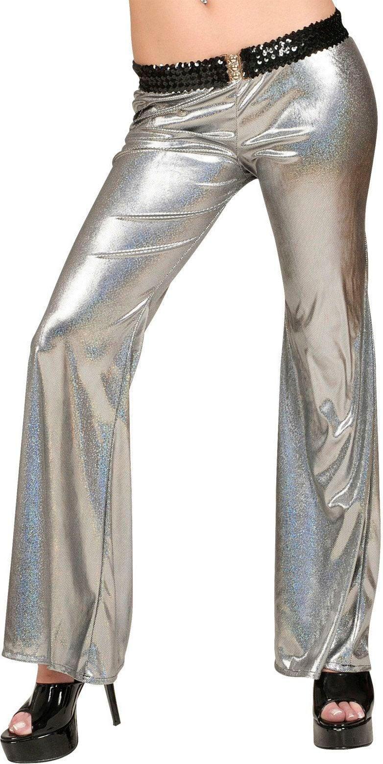 Zilveren holografische disco broek