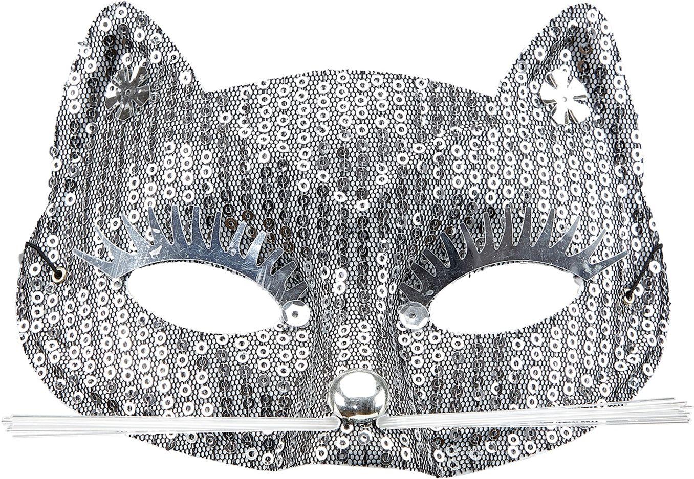 Zilveren katten oogmasker