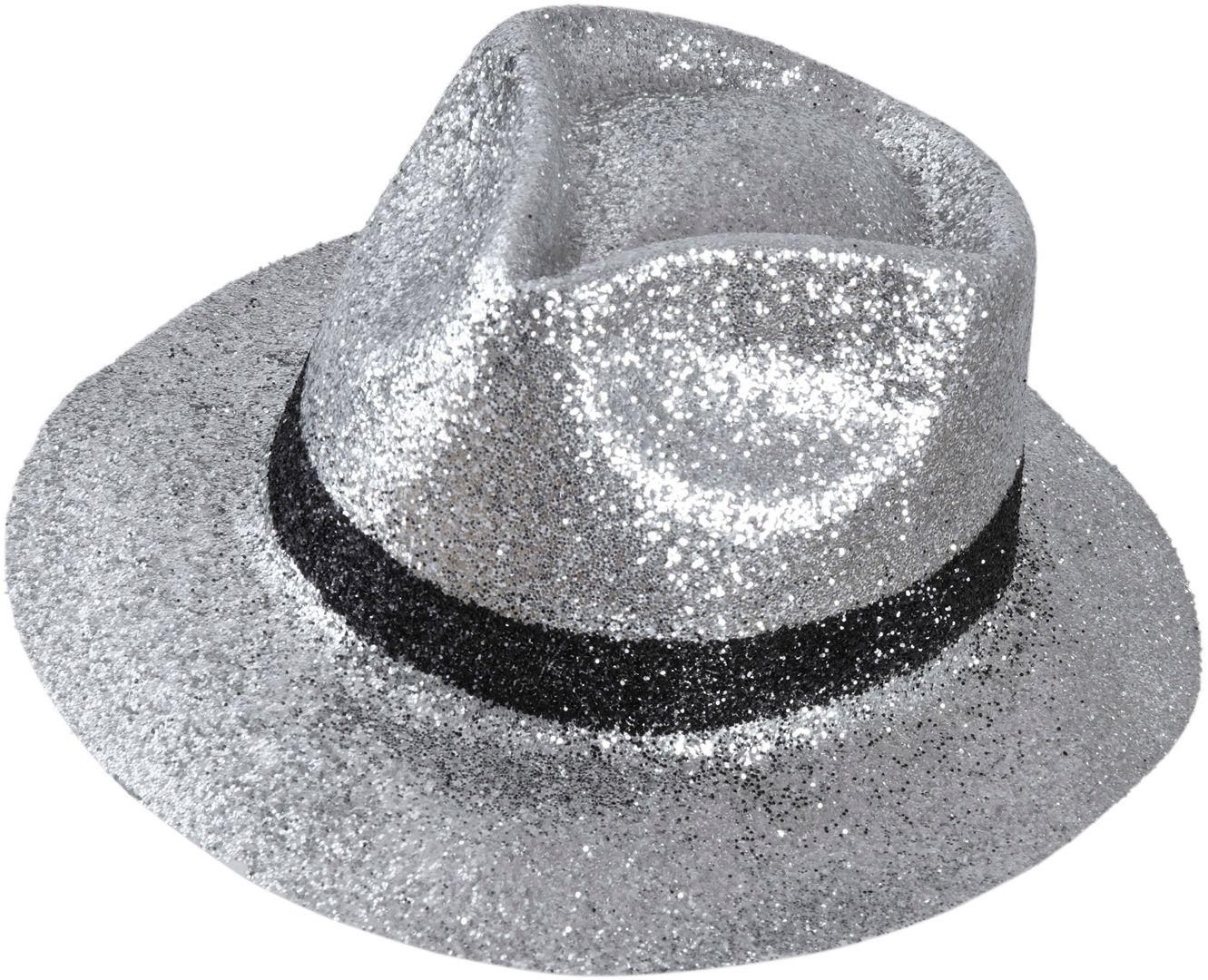 Zilveren maffia glitter hoed