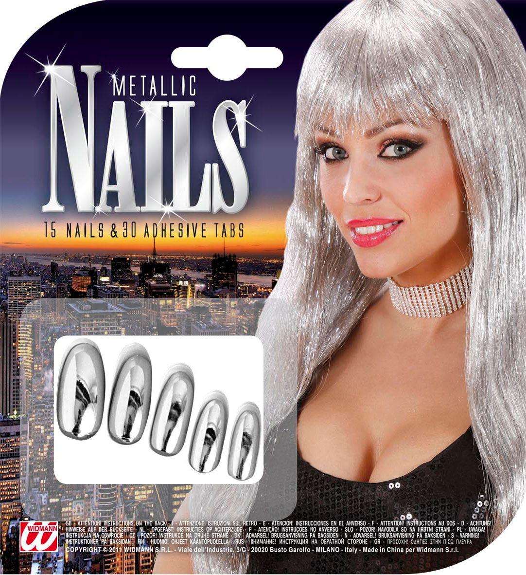 Zilveren metallic nagels 15 stuks