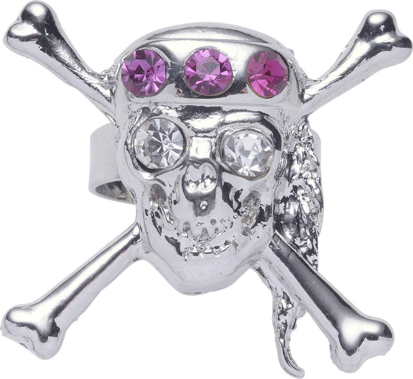 Zilveren piraten schedelring
