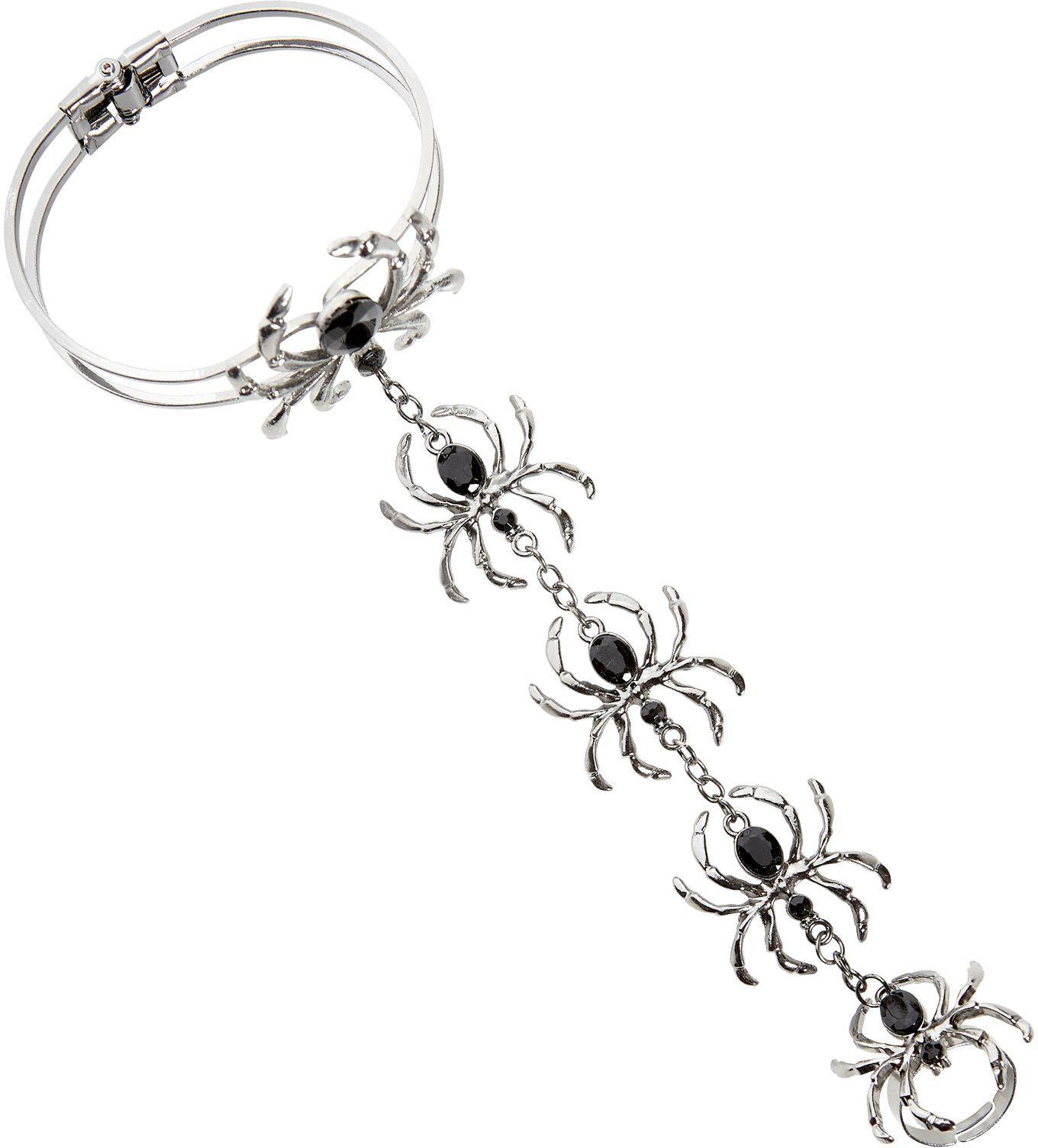 Zilveren spinnen armband met ring