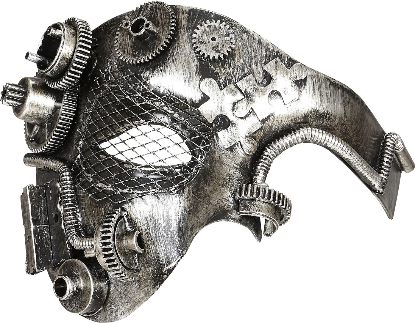 Zilveren steampunk half-gezichts masker