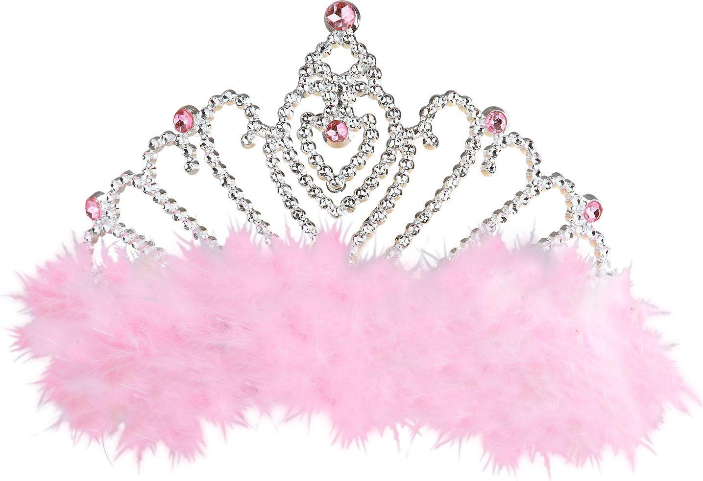 Zilveren tiara met roze veren