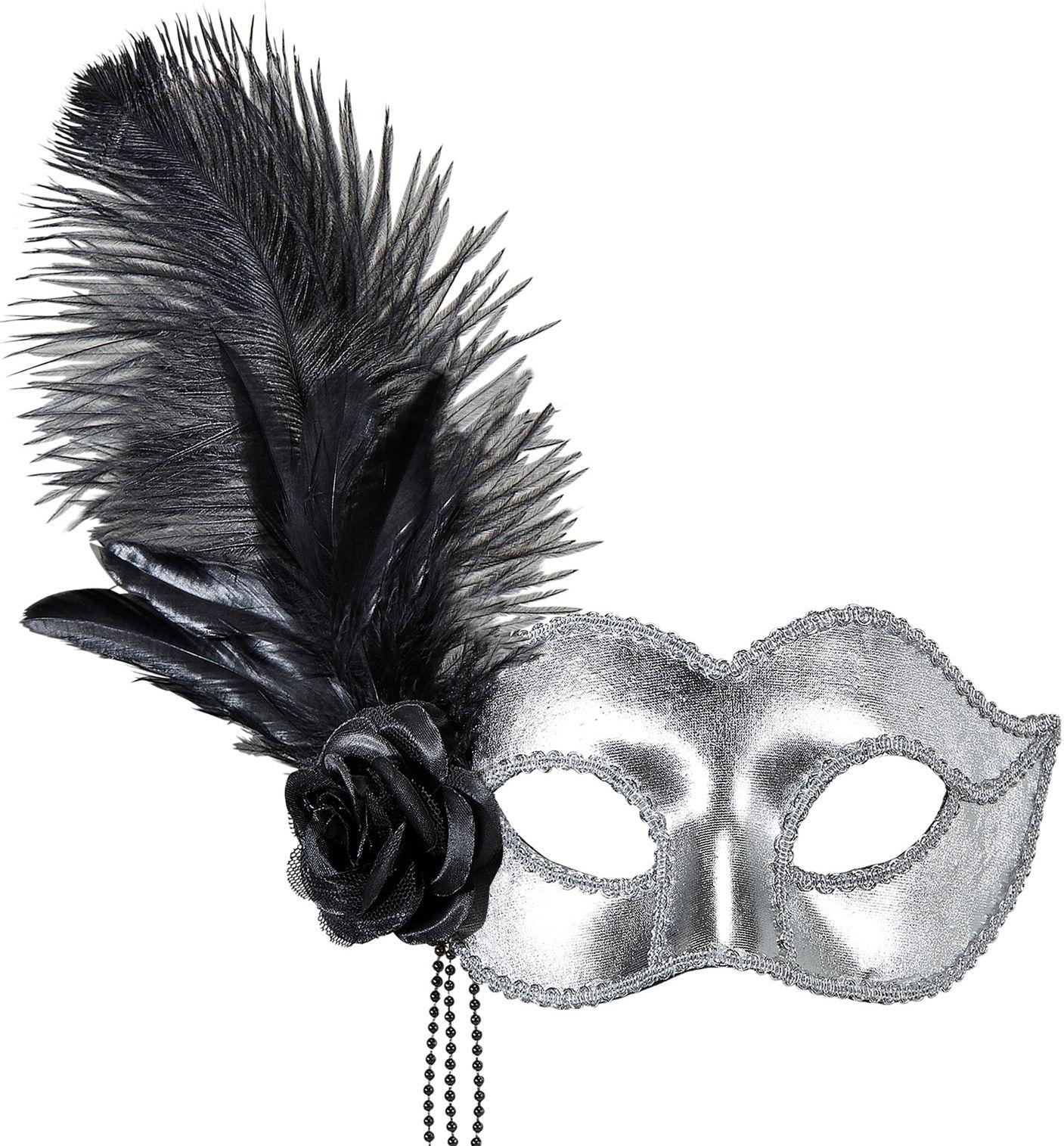 Zilveren venetiaans oogmasker met roos en veren