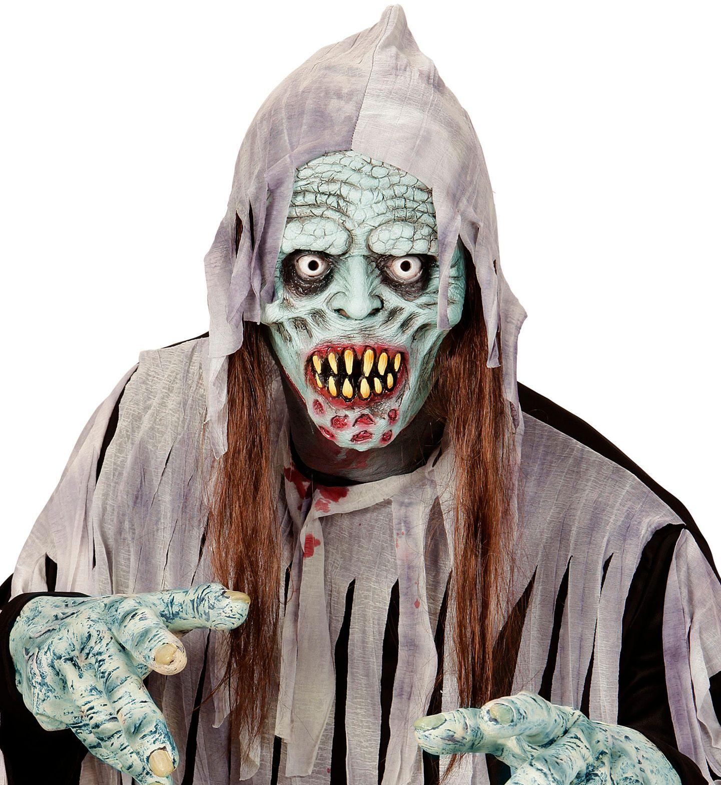 Zombie carnaval masker met haar