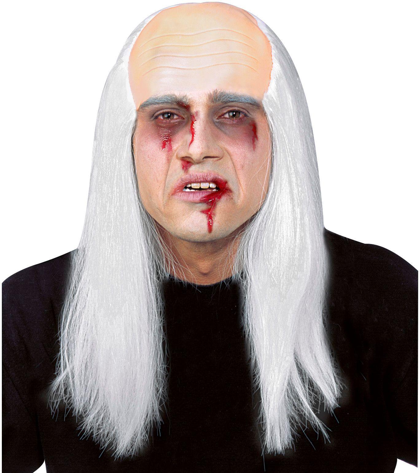 Zombie hoofddeksel met grijs haar