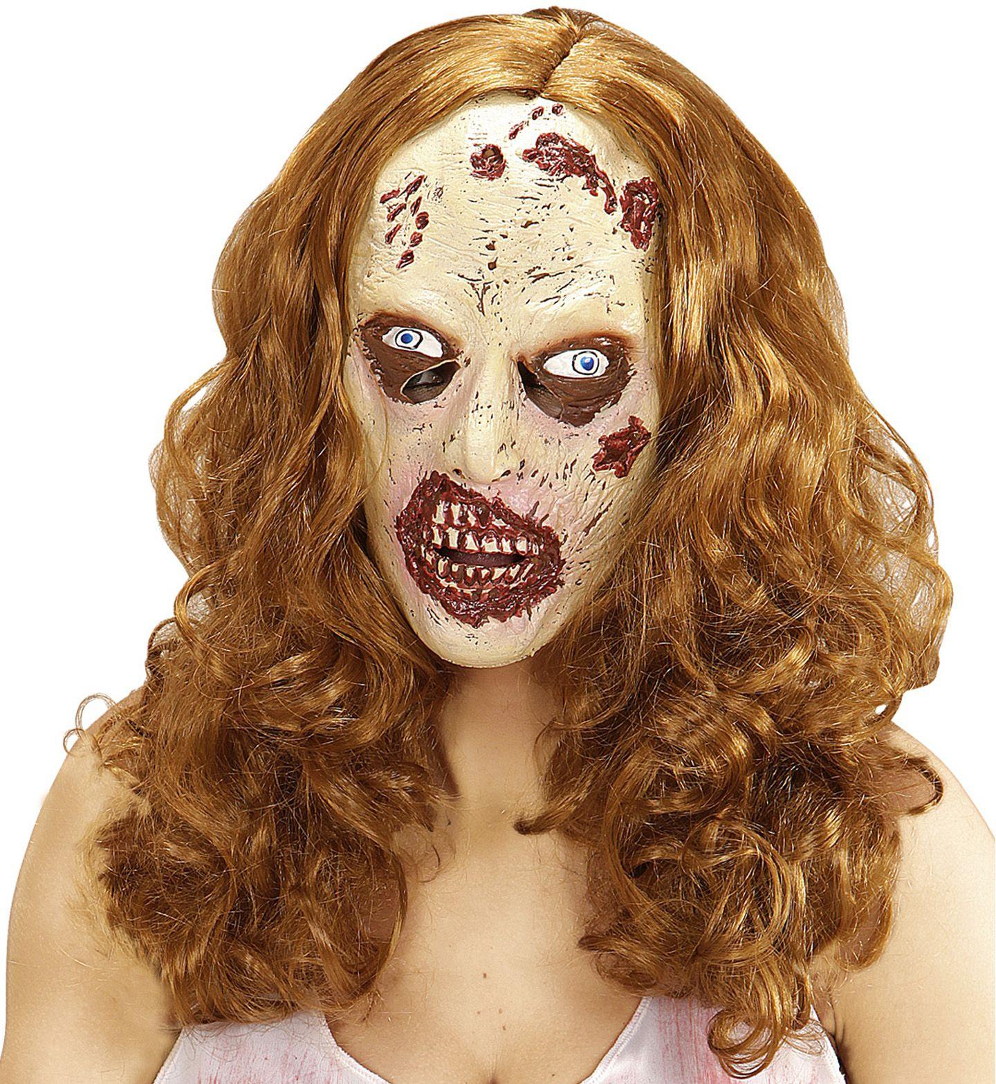 Zombie masker met bruine pruik