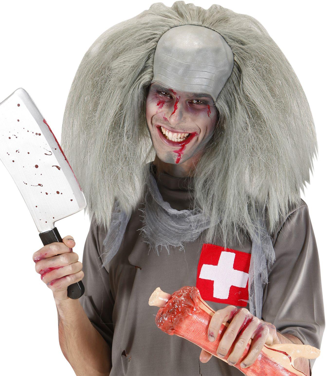 Zombie pruik grijs haar