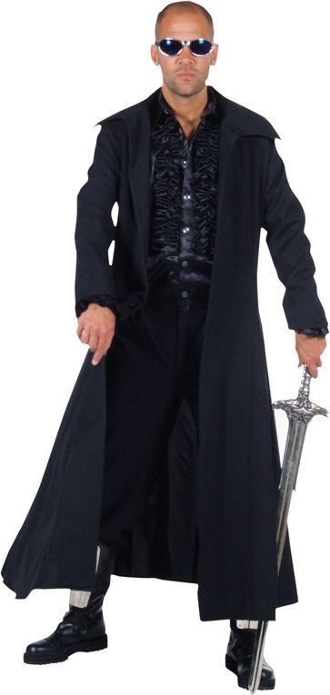 Zware lange steampunk jas heren