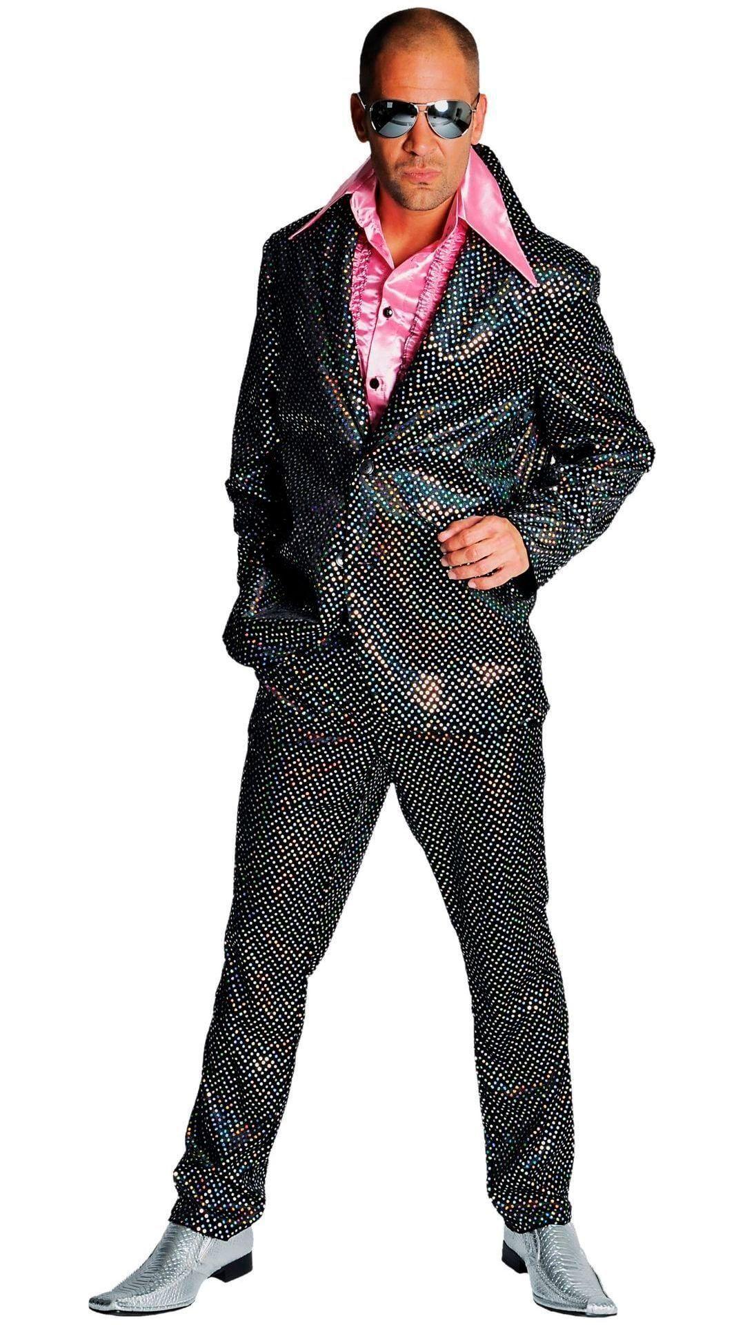 Zwart disco outfit glitter mannen