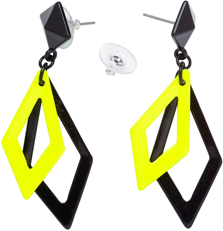 Zwart en neon gele disco oorbellen