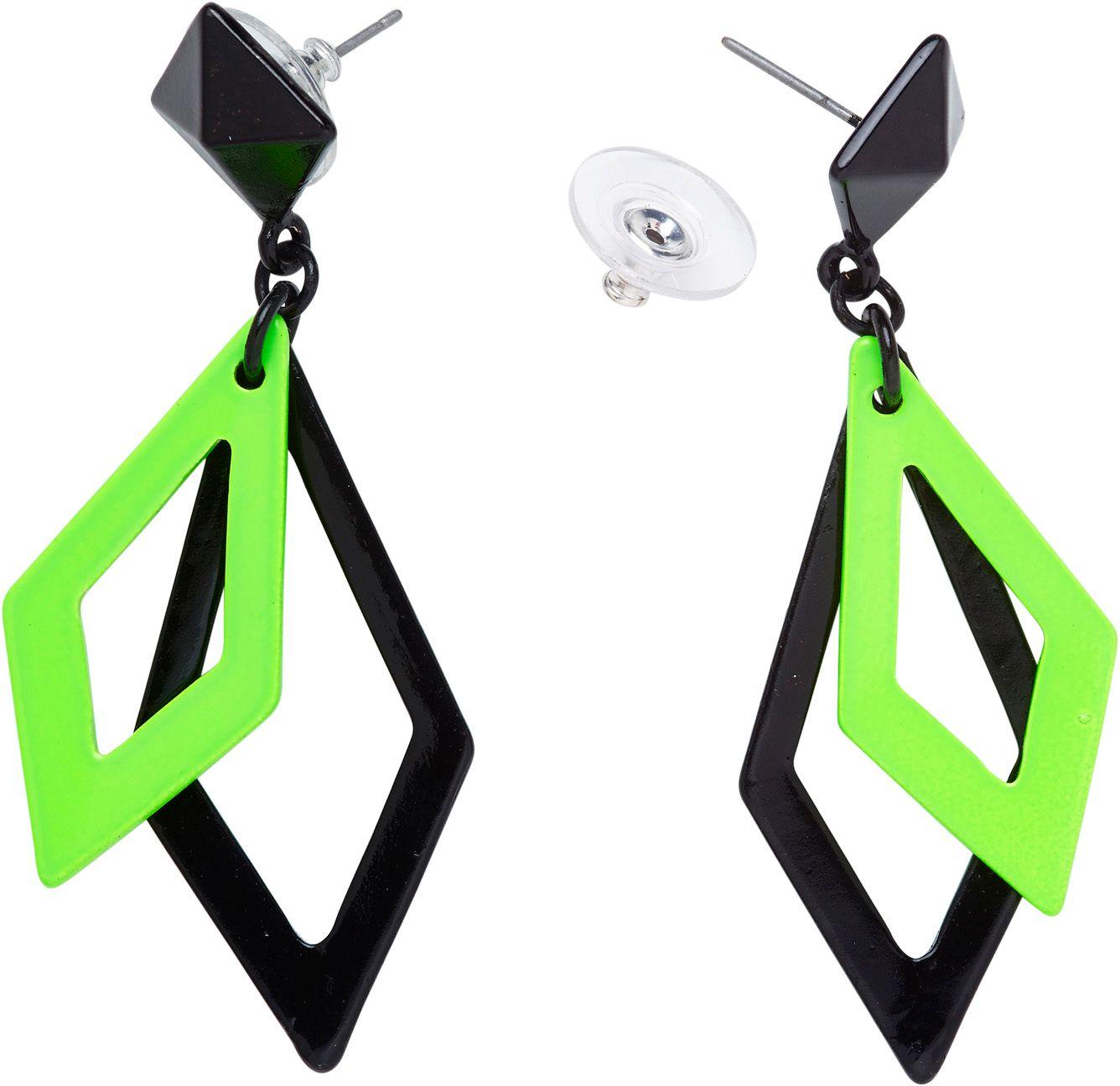 Zwart en neon groene disco oorbellen