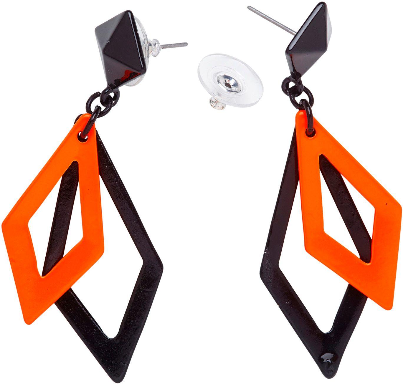 Zwart en neon oranje disco oorbellen