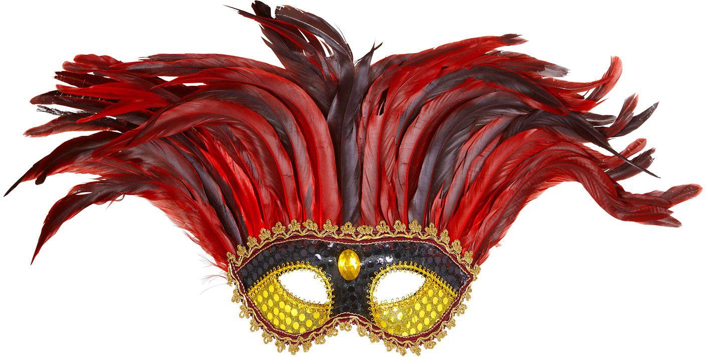 Zwart goud maya oogmasker met rode veren