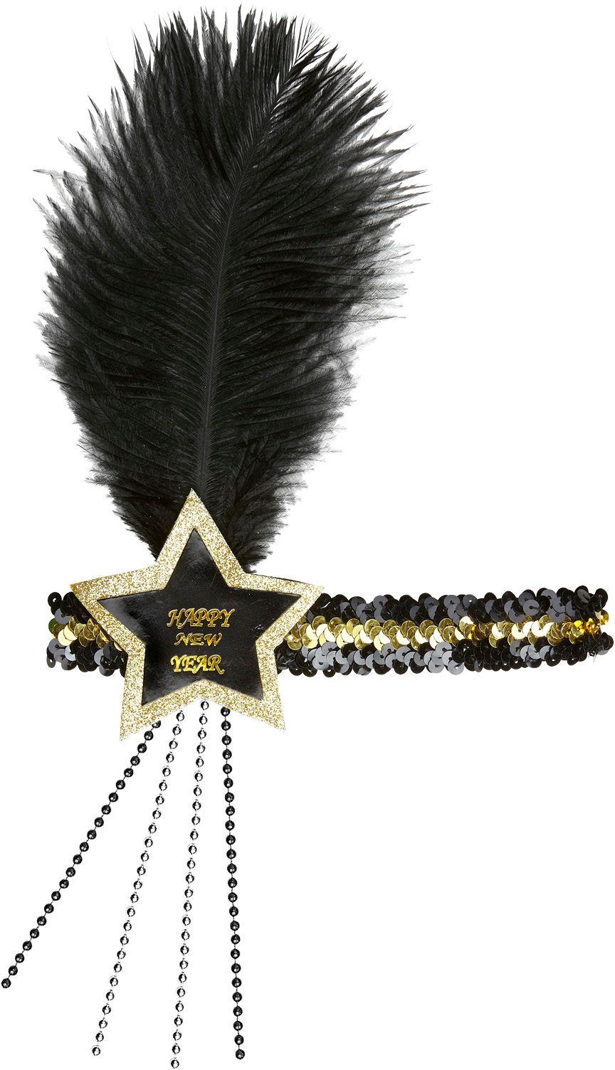 Zwart-gouden pailletten gelukkig nieuwjaar ster hoofdband