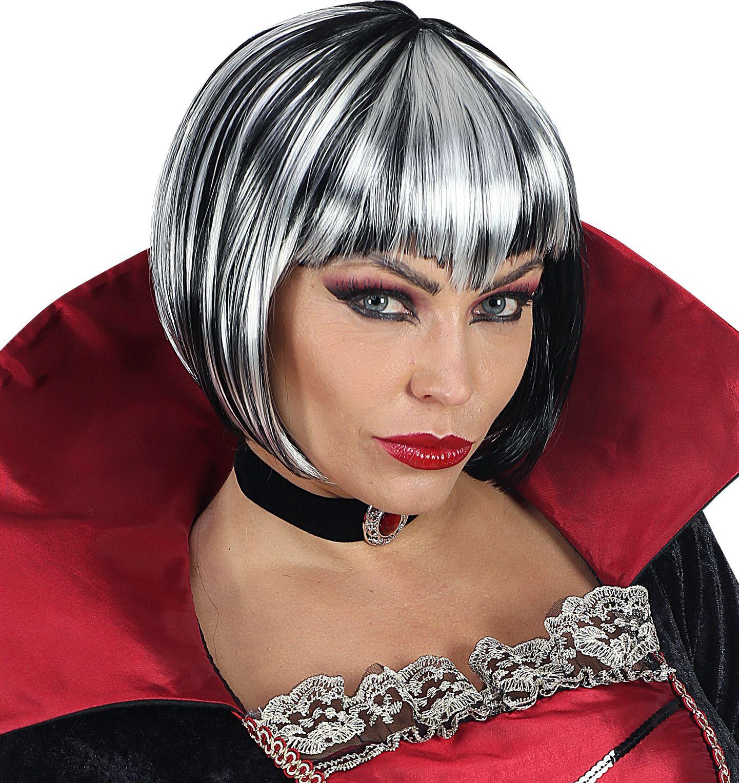 Zwart grijze gothic pruik vrouwen