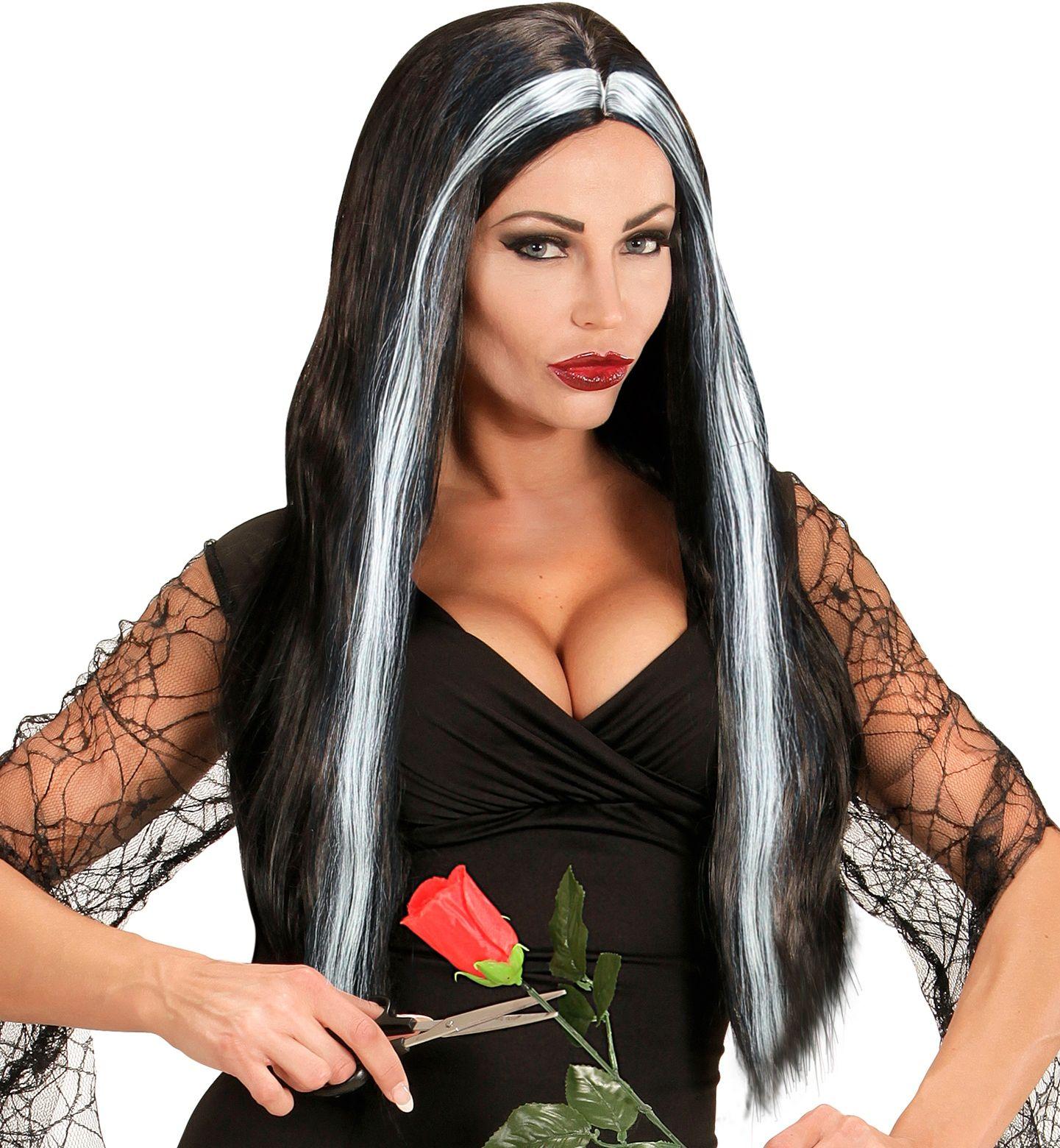 Zwart grijze heksen pruik lang haar