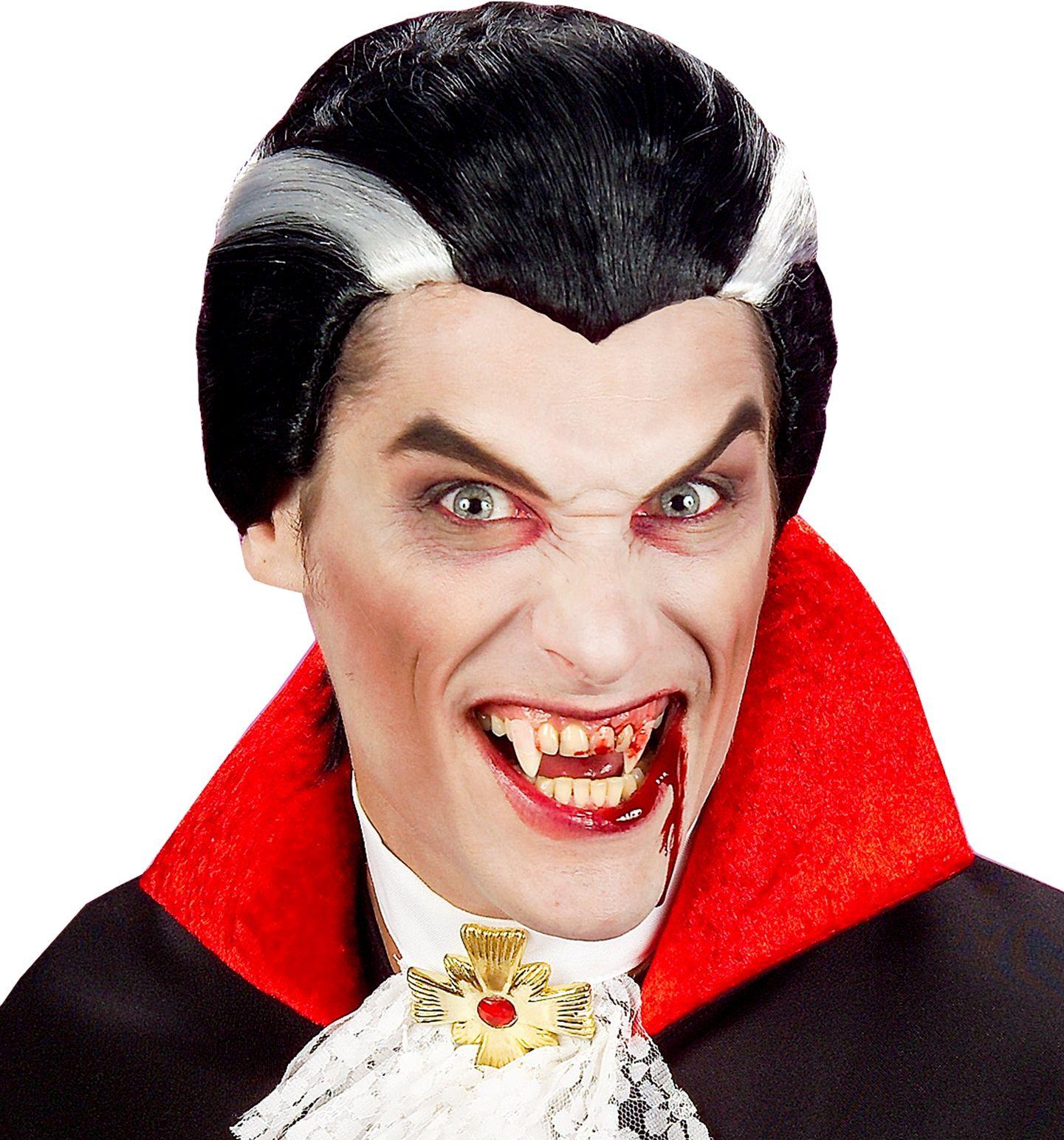 Zwart grijze vampier pruik