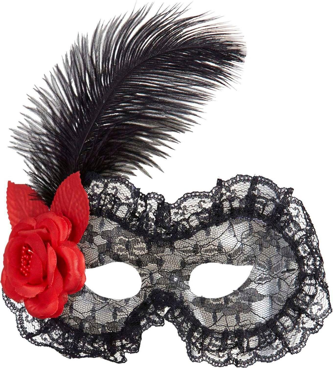 Zwart kanten oogmasker met veer en roos