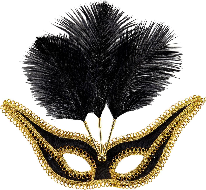 Zwart oogmasker met veren en gouden rand