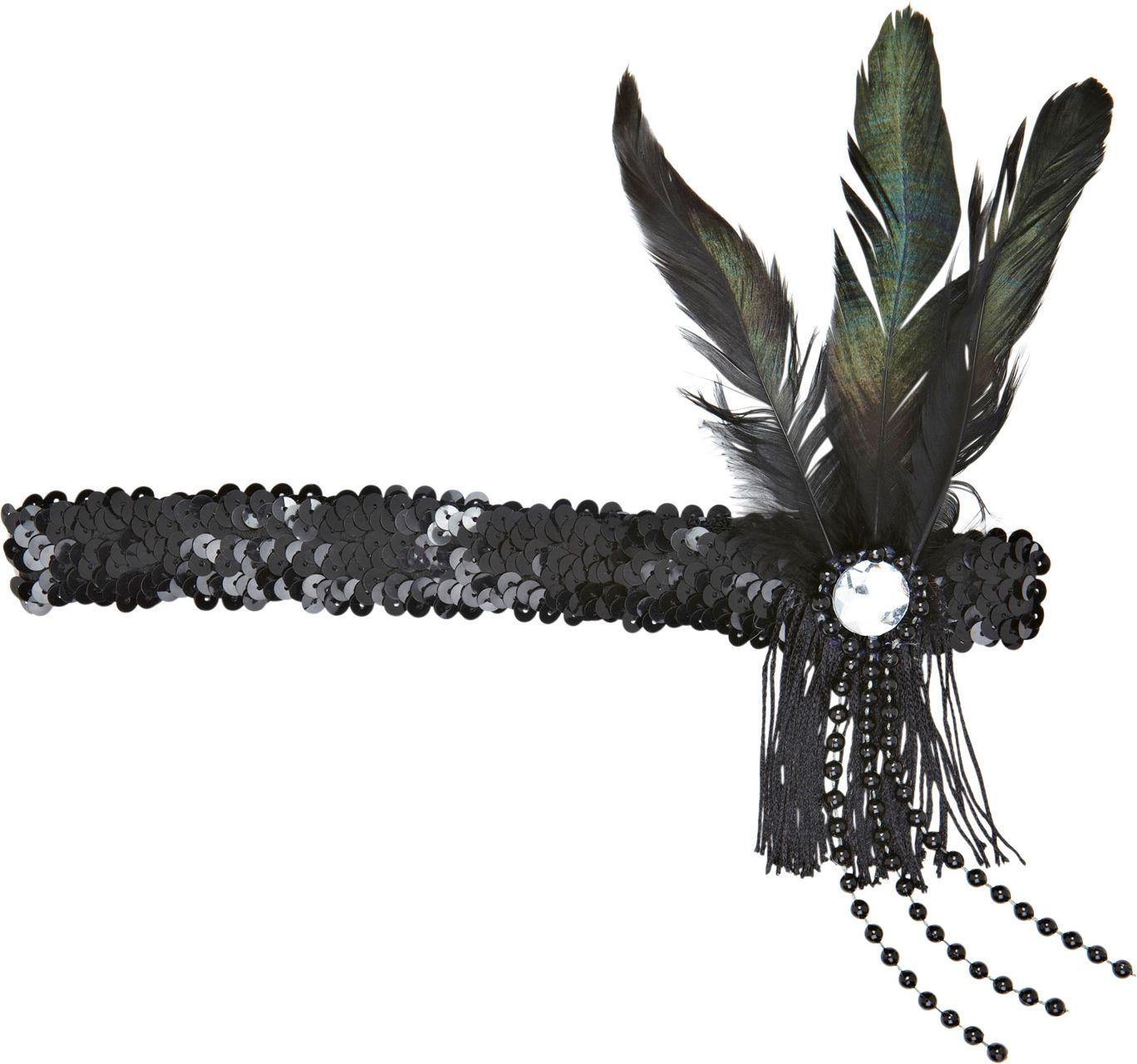 Zwart pailletten flapper hoofdband