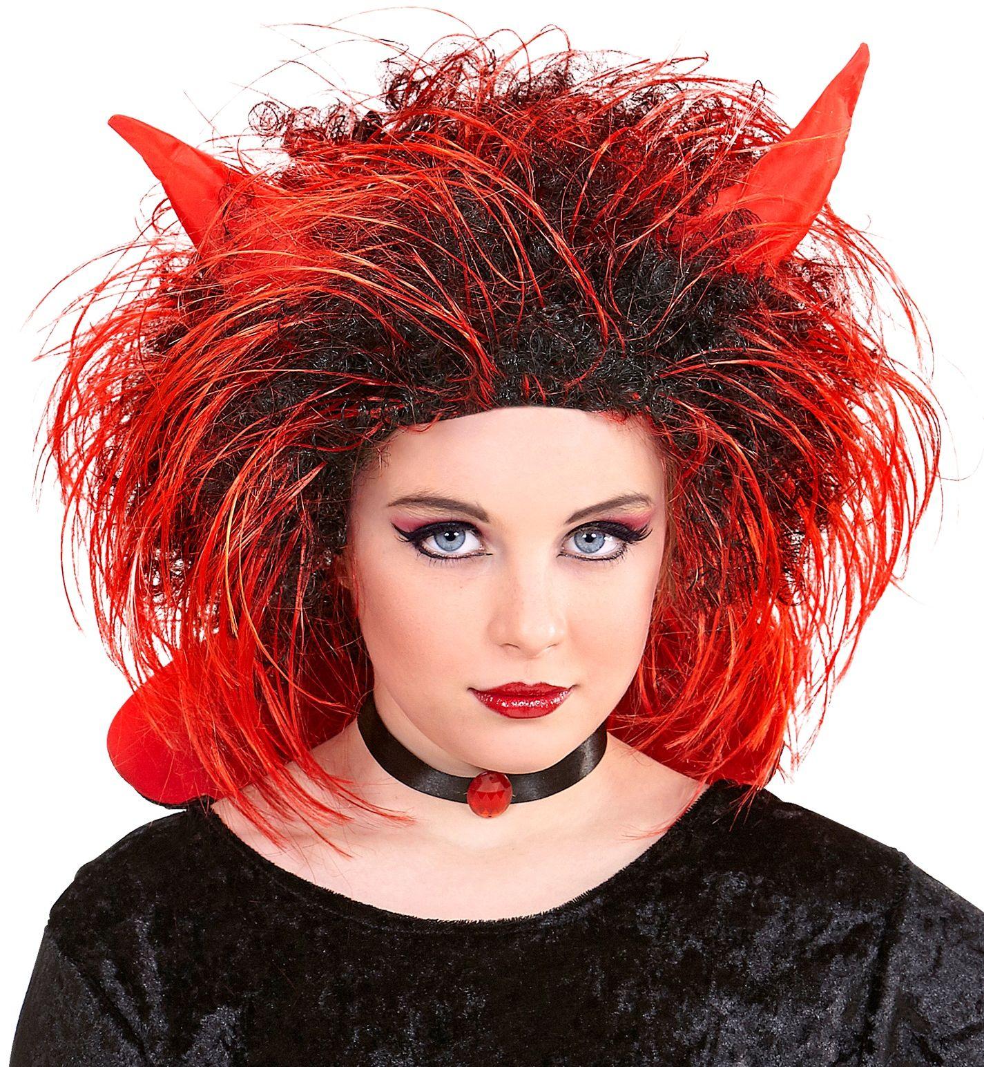Zwart rode duivel pruik
