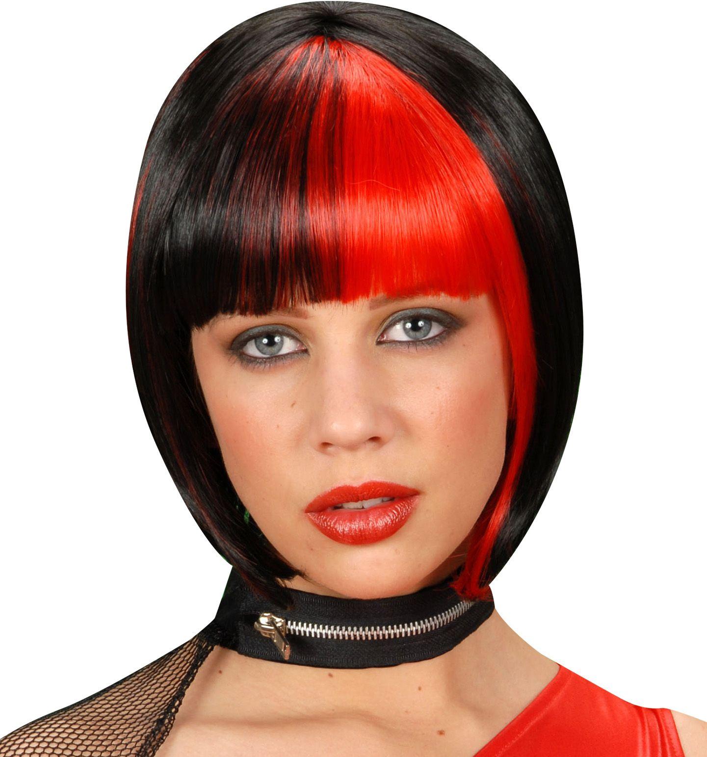 Zwart-rode korte pruik