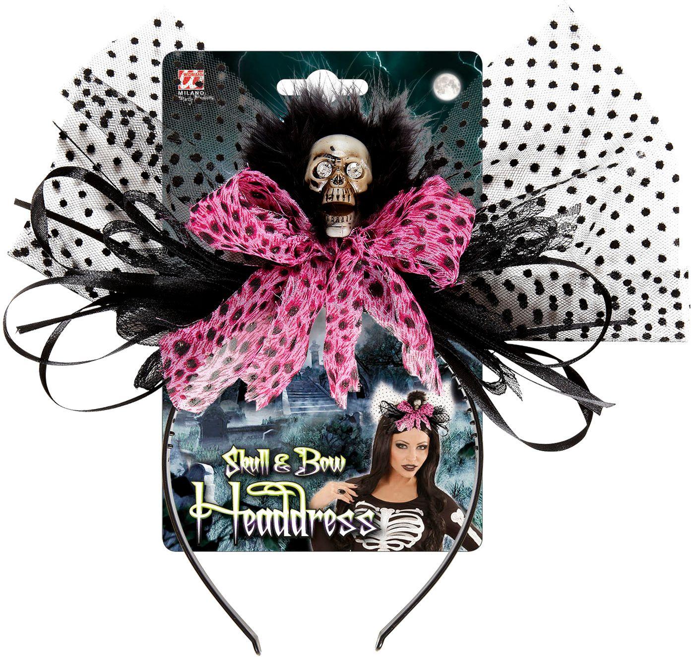 Zwart-roze halloween haardband