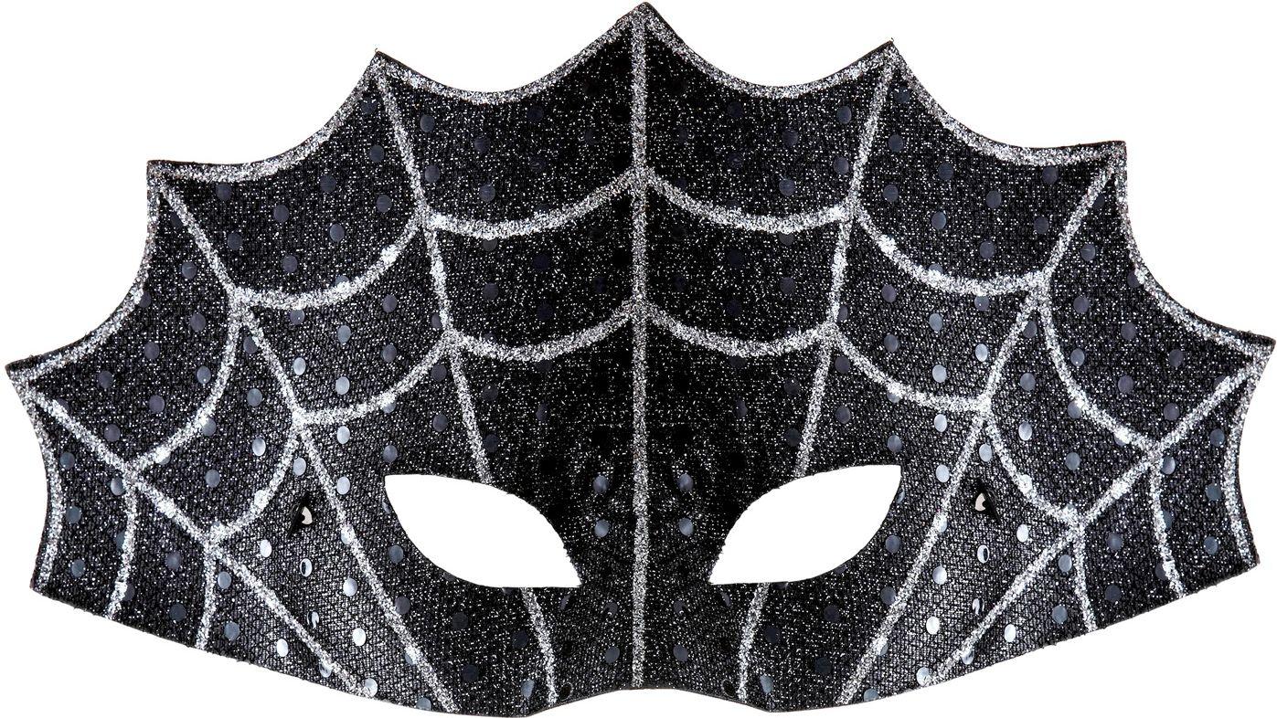 Zwart spinnenweb oogmasker