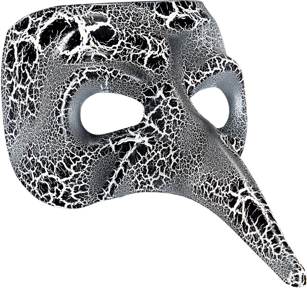 Zwart-wit gevlekt venetiaans nasone masker