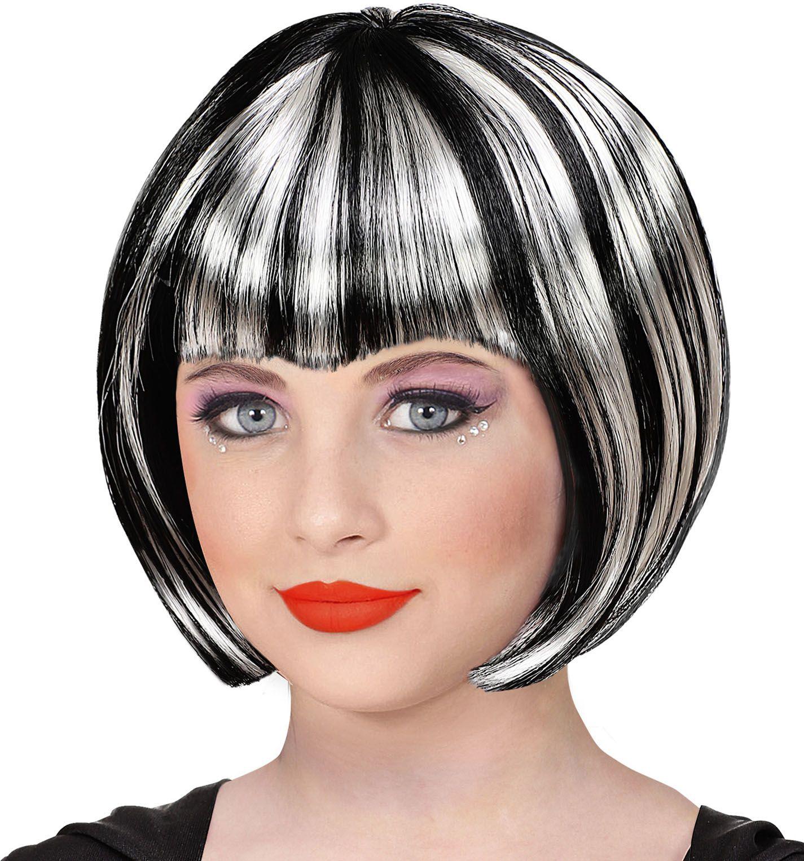 Zwart witte gothic pruik dames