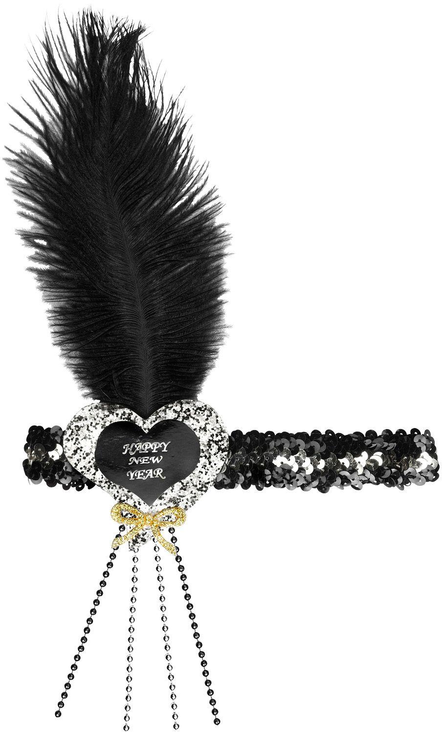 Zwart-zilveren pailletten gelukkig nieuwjaar hart hoofdband