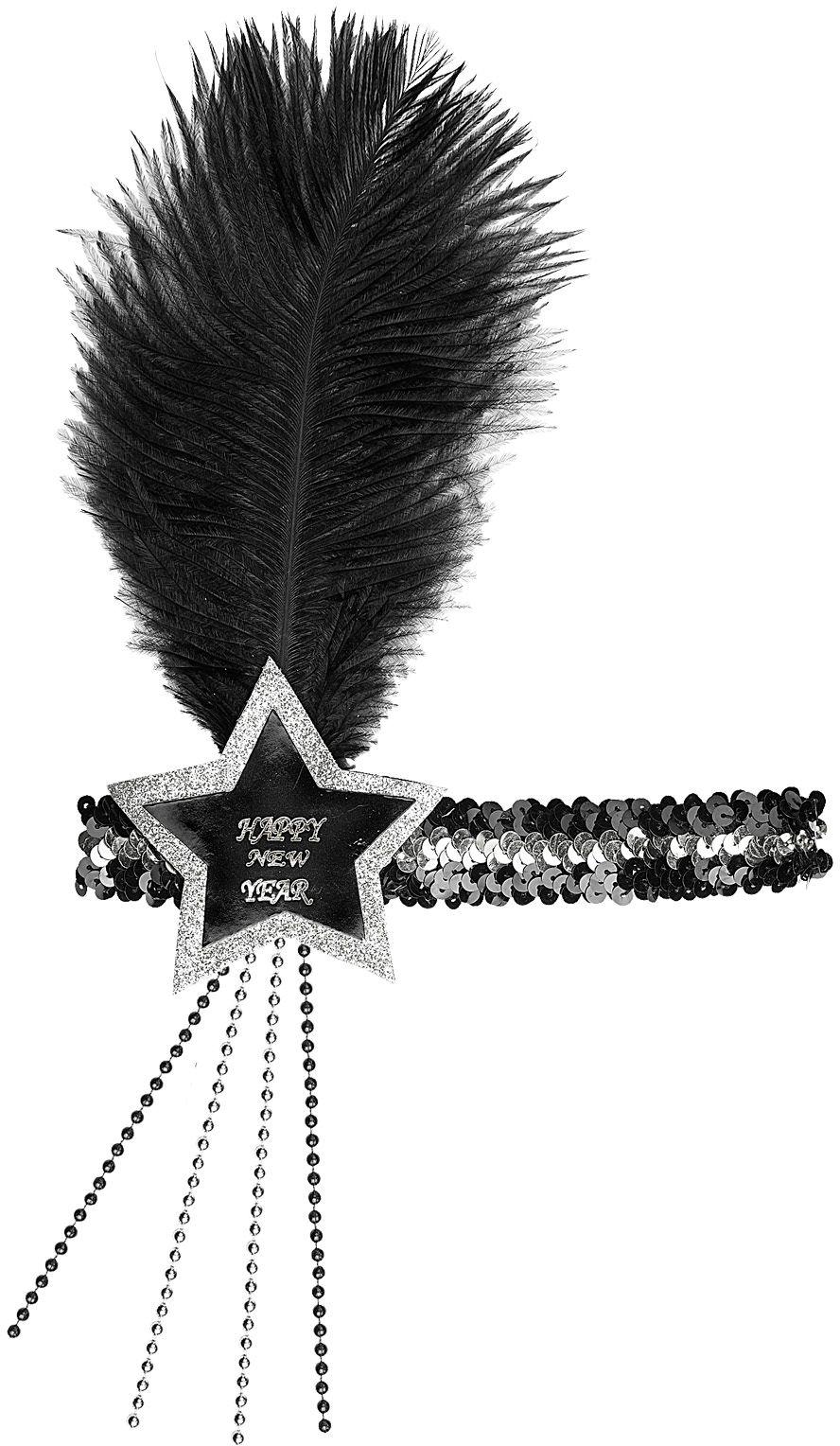Zwart-zilveren pailletten gelukkig nieuwjaar ster hoofdband