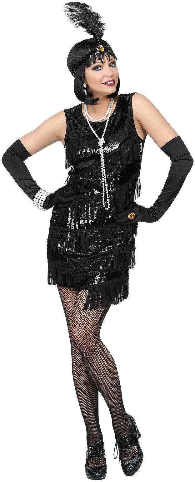 Zwarte 20s jurk vrouwen