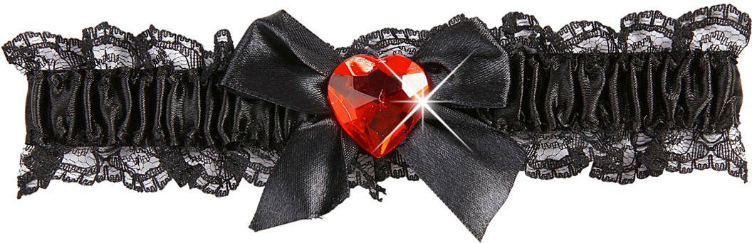 Zwarte 20s kousenband met rood juweel