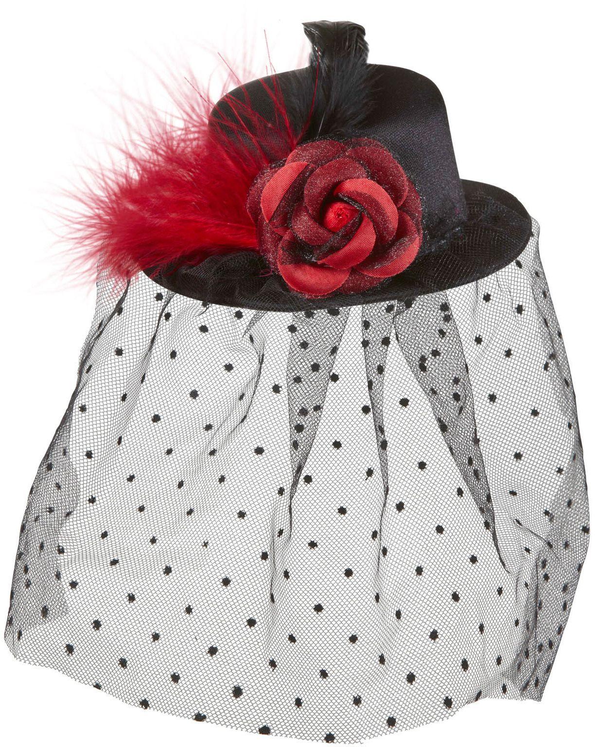 Zwarte 20s mini hoge hoed