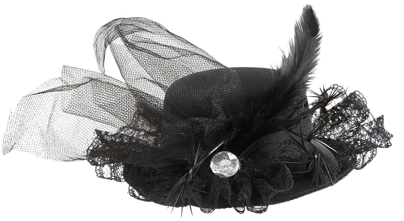 Zwarte 20s mini hoge hoed met juweel