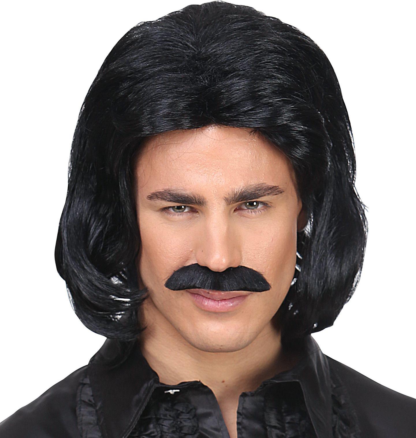 Zwarte 70s disco pruik heren