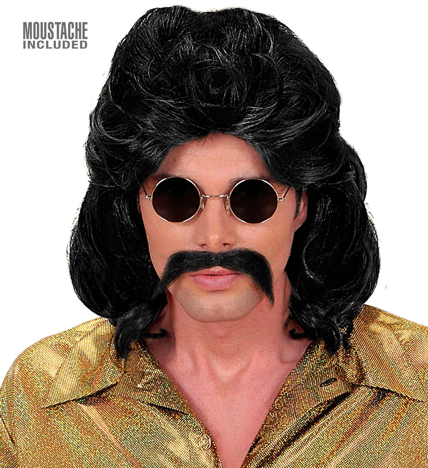 Zwarte 70s disco pruik met snor